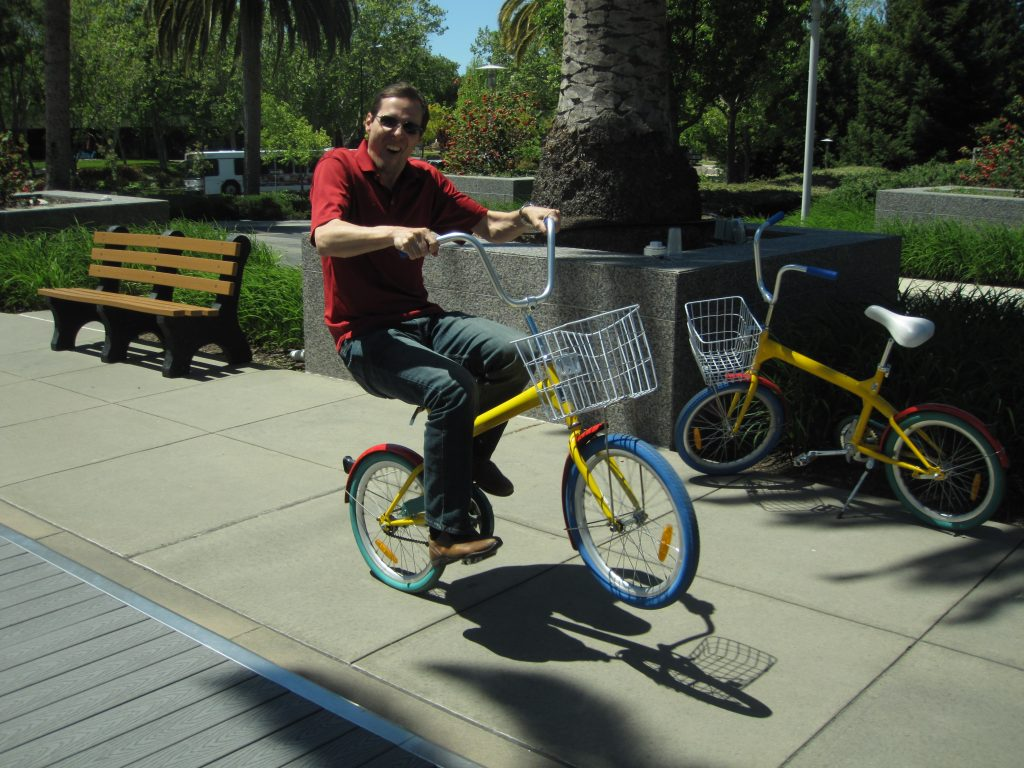 "Kandler ""popping a wheele"" during his six month stay in Silicon Valley."