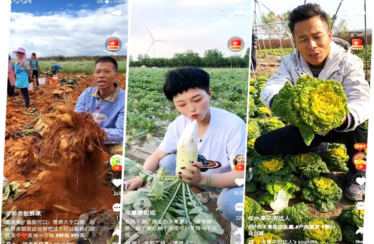 Tre bønder på ulike steder i Kina live-streamer sine produkter på plattformen Kuaishou.