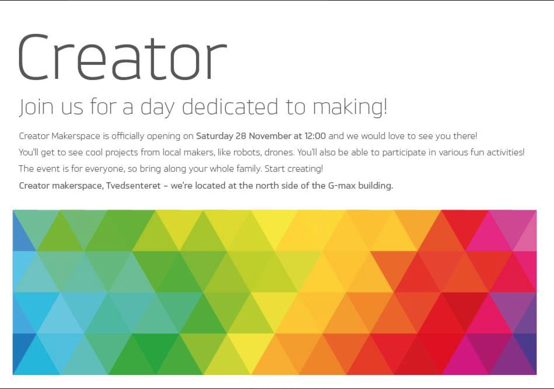 Lørdag 28. november åpner Creator Makerspace i Stavanger